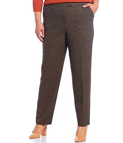 Investments Plus Size the 5TH AVE fit Straight Leg Tweed Pants