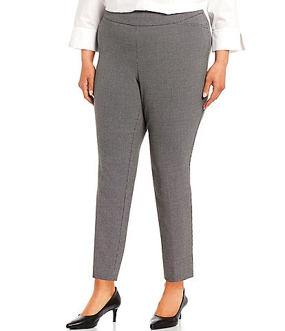 Investments Plus Size the PARK AVE fit Classic Ankle Dash Print Pants