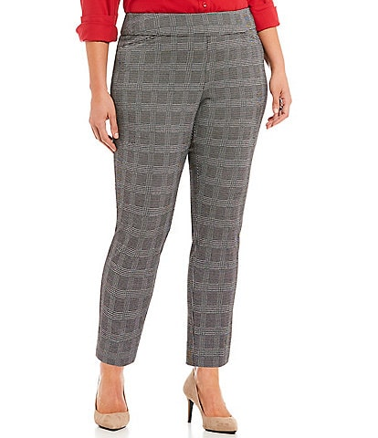 Investments Plus Size the PARK AVE fit Plaid Pull-On Ankle Pants