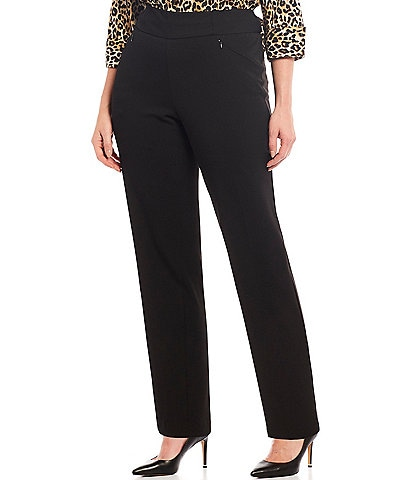 Investments Plus Size the PARK AVE fit Pull-On Straight Leg Pant with Pockets