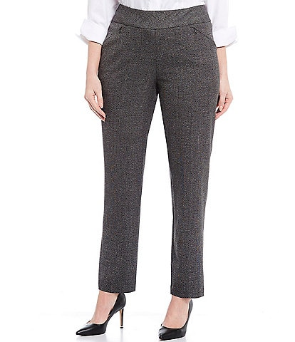 Investments Plus Size the PARK AVE fit Pull-On Straight Leg Two Way Stretch Tweed Pants