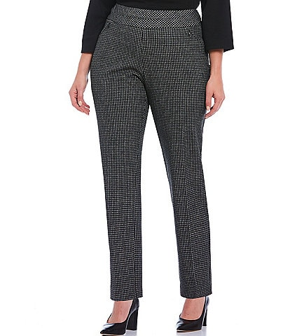 Investments Plus Size the PARK AVE fit Straight Leg Check Print Pull-On Pant with Pockets