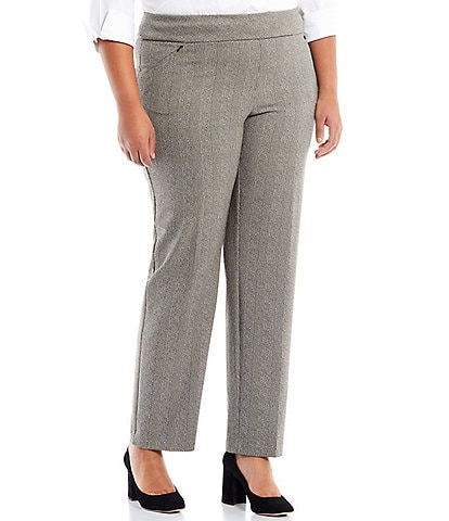 Investments Plus Size the PARK AVE fit Straight Leg Pull-On Glen Plaid Pants