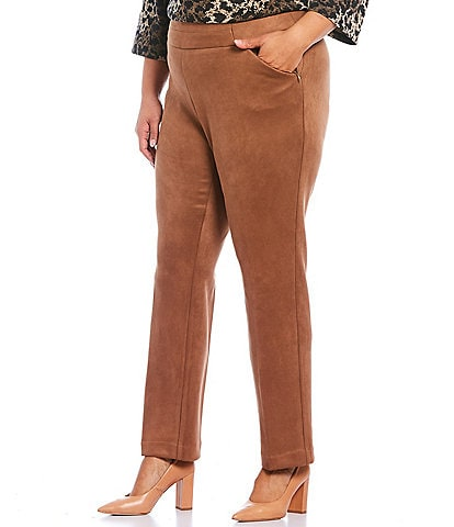 Investments Plus Size the PARK AVE fit Straight Leg Faux Suede Pull-On Pants with Pockets