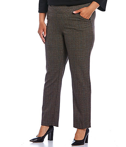 Investments Plus Size the PARK AVE fit Straight Leg With Pockets Plaid Pull-On Pant