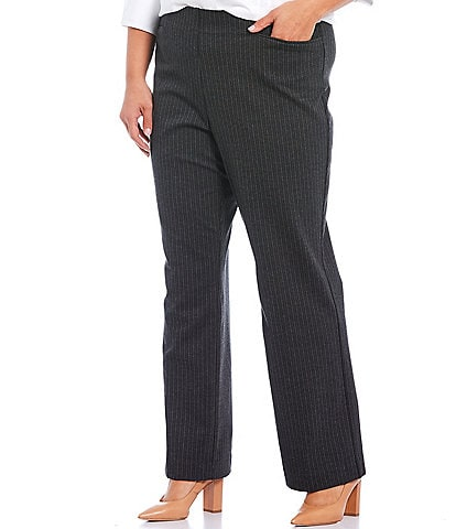 Investments Plus Size the REGENT ST fit Pull-On Straight Leg Stripe Pants