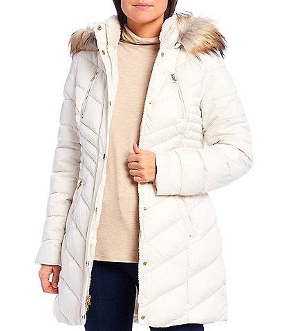 Preston & York Removable Faux Fur Hood Quilted Puffer Coat