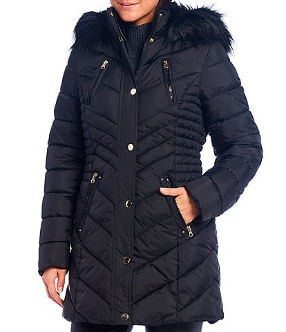 Investments Removable Faux Fur Hood Quilted Puffer Coat