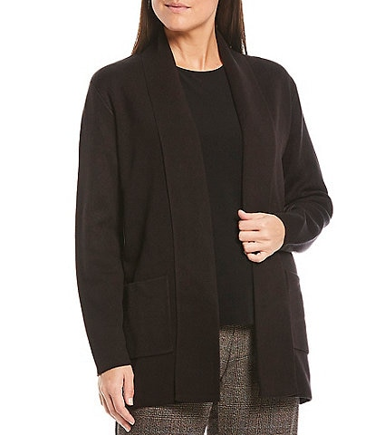 Investments Shawl Collar Long Sleeve Open Front Novelty Trim Cardigan