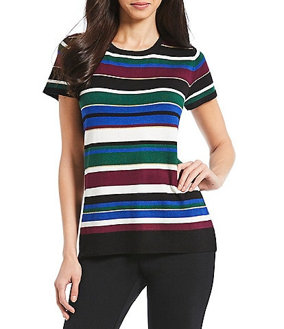Investments Short Sleeve Stripe Crew Neck Top