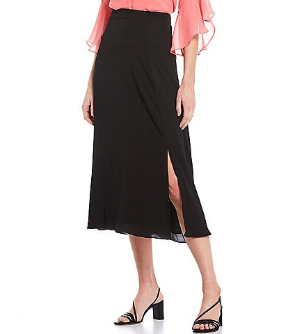 Investments Side Zip A-Line Midi Skirt