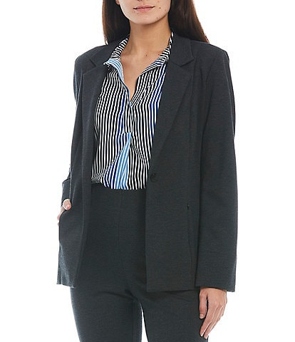 Investments Signature Ponte Long Sleeve One-Button Blazer