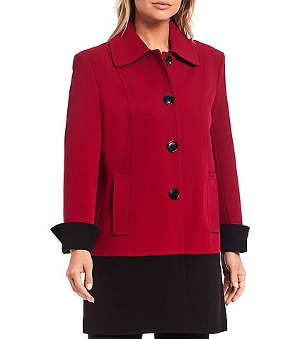 Investments Single Breasted A-Line Colorblock Button Front Crepe Coat