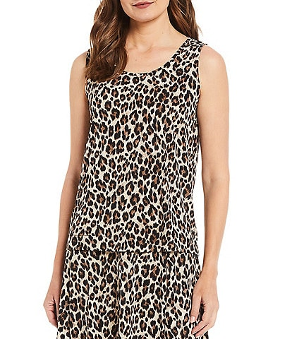 Investments Soft Separates Leopard Scoop Neck Sleeveless Top