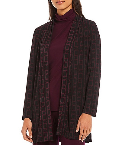 Investments Soft Separates Long Sleeve Open Front Chain Print Cardigan