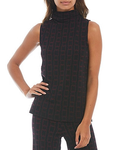 Investments Soft Separates Sleeveless Turtleneck Chain Print Top