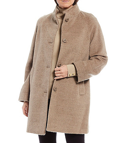 Investments Stand Collar Button Front Wool Blend Balmacaan Coat