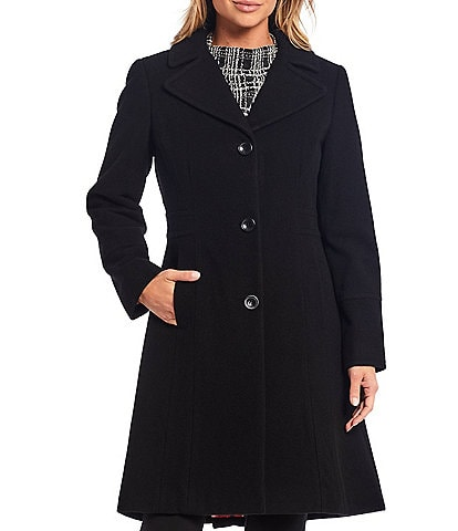 Investments Wool Blend Button Front Fit-N-Flare Coat