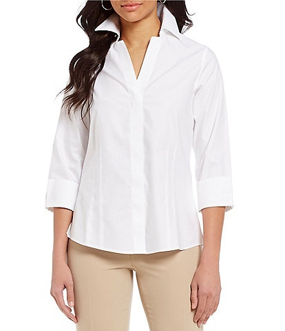 Investments Taylor Gold Label Non-Iron Y-Neck Wing Collared 3/4 Sleeve Button Front Shirt
