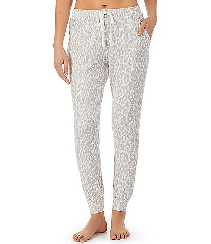 iRelax Animal Print Brushed French Terry Drawstring Coordinating Joggers