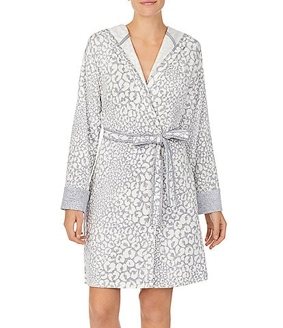 iRelax Brushed French Terry Animal Print Short Wrap Hoodie Robe