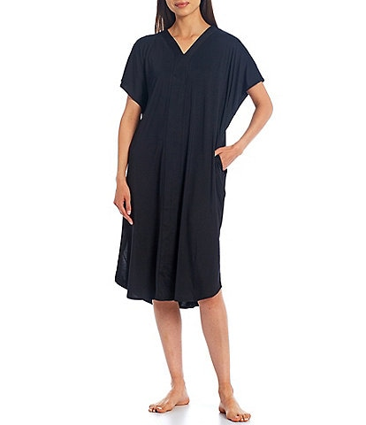 iRelax Solid Recycled Knit V-Neck Caftan