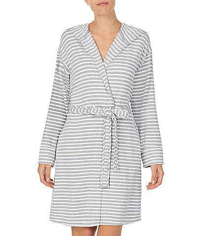 iRelax Striped Print Brushed French Terry Short Wrap Hoodie Robe
