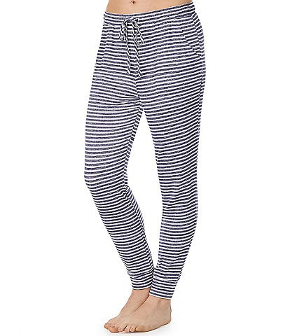 iRelax Striped Print French Terry Jogger Sleep Pants
