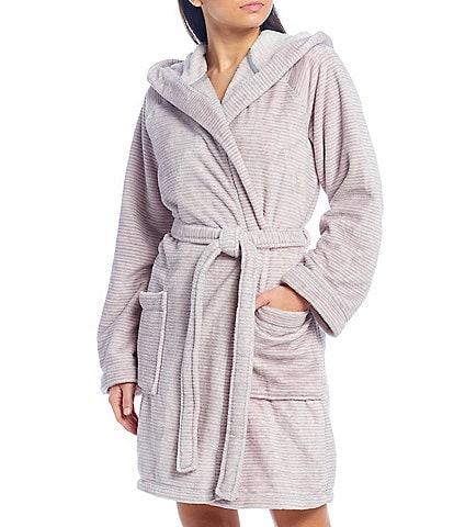 iRelax Striped Print Recycled Plush Hoodie Short Wrap Robe