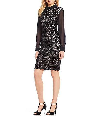 Ivanka Trump Collared Sheer Sleeve Lace Sheath Dress