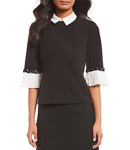 Ivanka Trump Contrast Collar and Cuff Knit Top