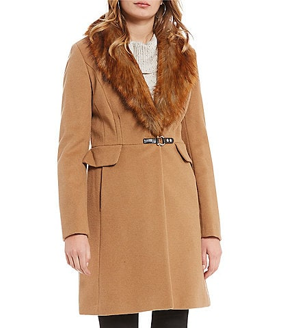 Ivanka Trump Faux Fur Collar Wool Coat