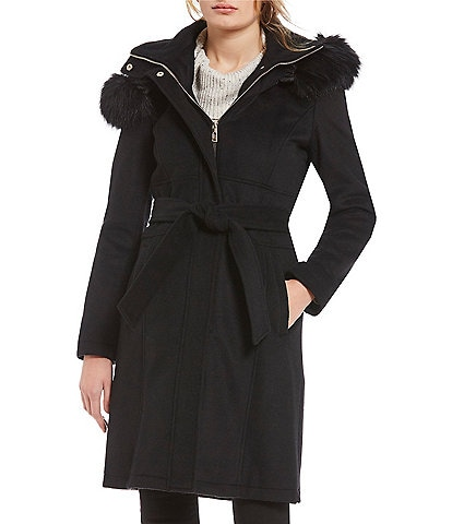 Ivanka Trump Faux Fur Hooded Wool Wrap Coat