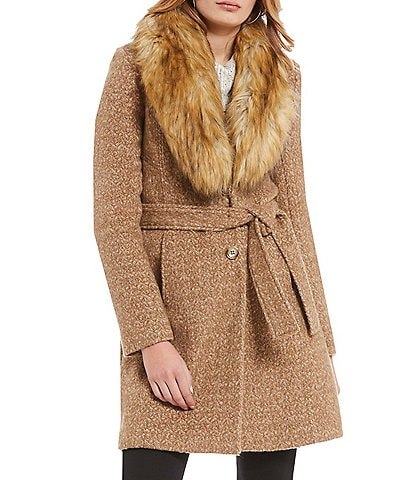 Ivanka Trump Faux Fur Trimmed Wool Wrap Coat
