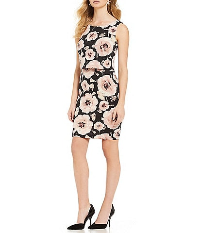 Ivanka Trump Floral Print Scuba Crepe Popover Sheath Dress