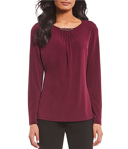 Ivanka Trump Matte Jersey Embellished Pleat Neck Long Sleeve Top