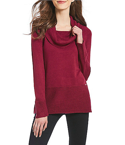 Ivanka Trump Mixed Texture Ribbed Cowl Neck Sweater