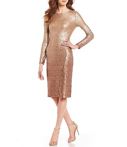 Ivanka Trump Ombre Metallic Sequin Sheath Dress