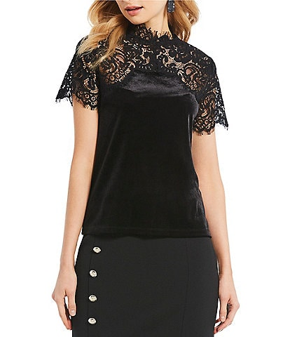 Ivanka Trump Romantic Lace Victorian Mock Neck Velvet Top