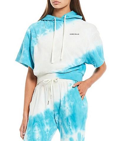 Ivory Ella Coordinating Short Sleeve Tie-Dye Cropped Hoodie