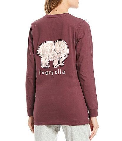 Ivory Ella Long Sleeve Sustainable Organic Cotton Logo Graphic Pocket Tee