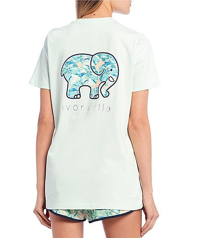 Ivory Ella Organic Cotton Tropical Leaf Logo Graphic Pocket Tee