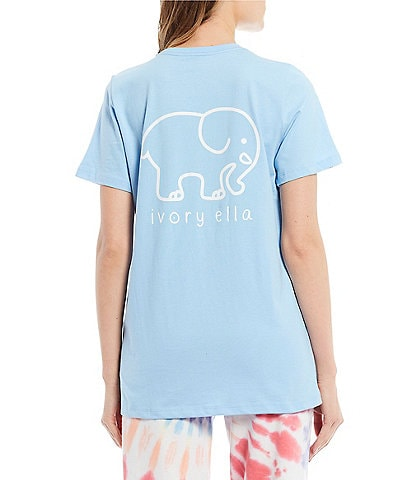 Ivory Ella Short Sleeve Organic Cotton Graphic Pocket Tee