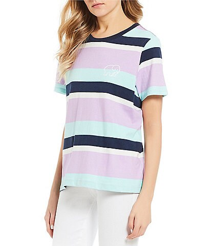 Ivory Ella Stripe Cropped Ringer Graphic Tee