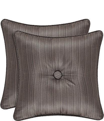 J. Queen New York Astoria Button-Tufted Satin Square Pillow