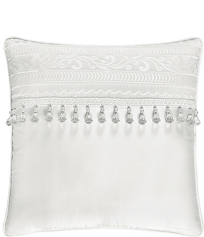 J. Queen New York Bianco Bead-Tasseled Square Pillow
