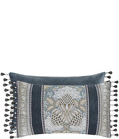 J. Queen New York Crystal Palace Fringed Floral Jacquard & Velvet Boudoir Pillow
