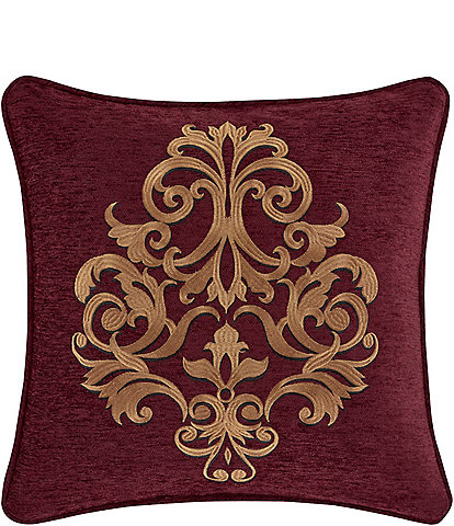 J. Queen New York Garnet Damask Embroidered Square Decorative Pillow