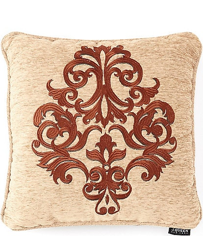 J. Queen New York Luciana Damask Embroidered Square Pillow