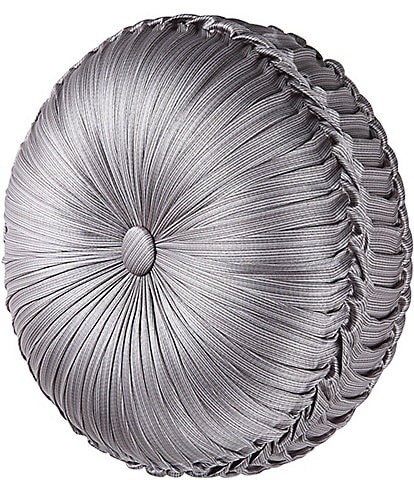 J. Queen New York Luxembourg Silver Tufted Round Pillow